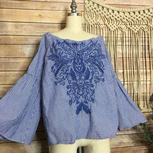 Inc International Concepts Embroidered Top Blouse